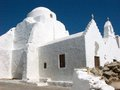 Orthodox church in mykonos traditional white with the cross and bells on the island Stock Images