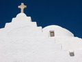 Orthodox church in mykonos traditional white with the cross on the island Royalty Free Stock Image