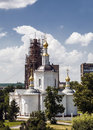Orthodox church old in the reconstruction after the destruction during the soviet era Stock Photography