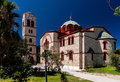 Orthodox church in pefkochori greece a small tourist town of greek πευκοχώρ located the southeast of the peninsula of Stock Photo