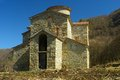 Orthodox church this is ruins in caucasus mountains arkhyz Stock Photos