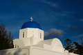 The orthodox church in santorini all on island of s their top is sky blue walls are Stock Image