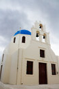 The orthodox church in santorini all on island of s their top is sky blue walls are Stock Photography