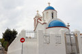 The orthodox church in santorini all on island of s their top is sky blue walls are Royalty Free Stock Photography