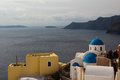 The orthodox church in santorini sunlight small town face of aegean sea cliff here put buddha is like a pearl on earth Stock Photography