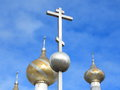 Orthodox cross against blue sky Royalty Free Stock Photos