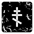 Orthodox cross icon, grunge style Royalty Free Stock Photo