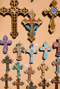 Orthodox crosses for sale in local shop a the market place of santorini greece Stock Photography