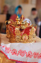 Orthodox crowns closeup of two beautiful golden Stock Images