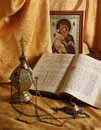 Orthodox icon, books and censer Stock Photos