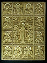 Orthodox icon carved from mammoth tusk the manufacture of icons are crafted in russian culture is a very ancient Stock Photo