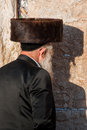 Orthodox jew praying at the western wall wailing wall in jerusalem israel Stock Photography