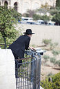 Orthodox Jewish man parrying Stock Photo