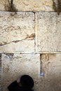 Orthodox jewish senior man pressed prayer against wailing wall old city jerusalem Royalty Free Stock Images