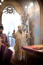 Orthodox liturgy with bishop Royalty Free Stock Image