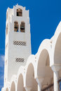 Orthodox metropolitan cathedral fira bell tower on the thira santorini greece Royalty Free Stock Photo