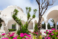 Orthodox metropolitan cathedral fira the garden at santorini greece Royalty Free Stock Photo