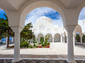 Orthodox metropolitan cathedral fira the garden at santorini greece Royalty Free Stock Photos