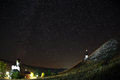 Orthodox monastery on the background stars in the night sky of Stock Photography