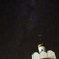 Orthodox monastery on the background stars in the night sky of Royalty Free Stock Photo