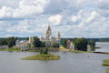 Orthodox monastery and lake Seliger, Tver region, Russia Royalty Free Stock Photo