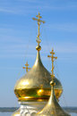Orthodox symbols the golden domes with crosses church of st john the baptist in nizhny novgorod russia on a volga river church was Stock Photos