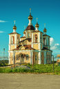 Orthodox temple ancient surrounded with beautiful flat nature Royalty Free Stock Photos