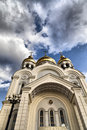 Orthodox temple the in the light of a bright sun Royalty Free Stock Photo