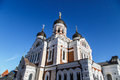 Orthodoxy cathedral bottom view of alexander nevsky which is the grandest in tallinn estonia on navy blue background Stock Photography
