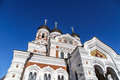 Orthodoxy cathedral bottom view of alexander nevsky which is the grandest in tallinn estonia on navy blue background Royalty Free Stock Image