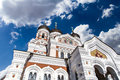 Orthodoxy cathedral side view of alexander nevsky which is the grandest capula of tallinn on cloudy sky background Royalty Free Stock Photo
