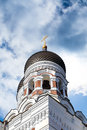 Orthodoxy cathedral side view of the dome of alexander nevsky which is the grandest capula of tallinn on cloudy sky Stock Images