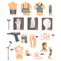 Orthopedic Surgery And Orthopaedics Attributes And Tools Set Of Cartoon Icons With Bandages, X-rays And Other Medical