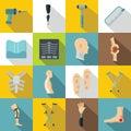 Orthopedics prosthetics icons set, flat style