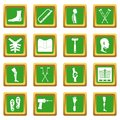 Orthopedics prosthetics icons set green