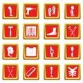 Orthopedics prosthetics icons set red
