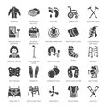Orthopedics, trauma rehabilitation glyph icons. Crutches, mattress pillow, cervical collar, walkers, medical rehab goods