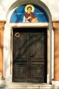 基督徒ortodox教会的前门 免版税库存照片