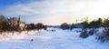 俄国人ortodox教会冬天风景基督徒铁十字架 免版税库存照片