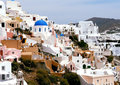 Ortodox church with blue top on santorini island Royalty Free Stock Photography