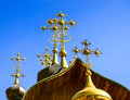 Ortodox church crosses on blue sky background Royalty Free Stock Photo