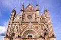 Orvieto cathedal ornate facade of the duomo of italy Stock Photos