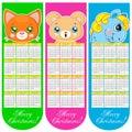 Os marcador e calendar com animais Fotografia de Stock