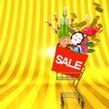 Os ornamento de front view of new year com o carrinho de compras no espaço do texto Fotografia de Stock