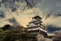 Osaka castle the ancient buildings and beautiful stand out among Royalty Free Stock Photo