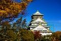 Osaka Castle with autumn leaves
