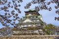 Osaka castle and cherry blossom with sakura in japan the picture was taken during sakura in spring Royalty Free Stock Photos