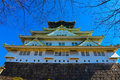 Osaka castle in city japan Royalty Free Stock Photo
