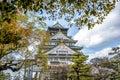Osaka castle in Japan with sakura tree in front Royalty Free Stock Photo