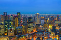 Osaka japan at night view from umeda building Royalty Free Stock Photos